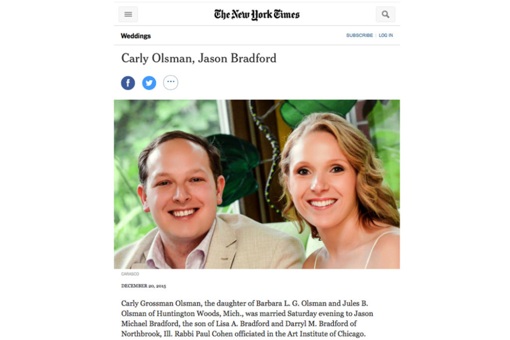 Carly and Jason featured in NY Times Sunday Styles