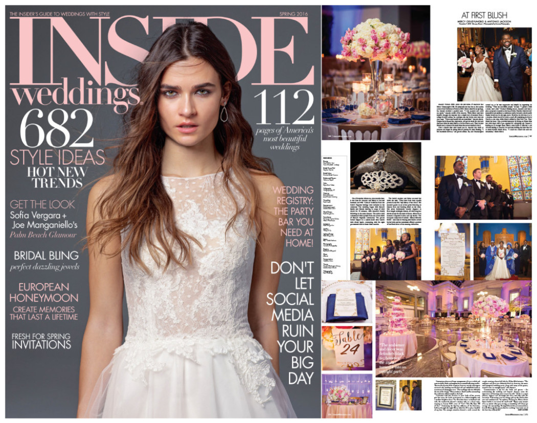 Mercy and Tony's Wedding Featured in Inside Weddings Spring Edition